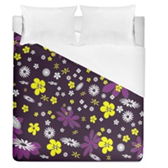 Floral Purple Flower Yellow Duvet Cover (queen Size)