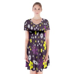 Floral Purple Flower Yellow Short Sleeve V Neck Flare Dress