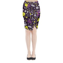 Floral Purple Flower Yellow Midi Wrap Pencil Skirt