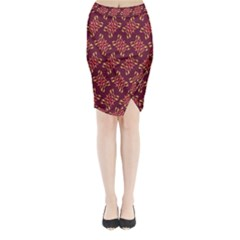 Flower Purple Midi Wrap Pencil Skirt