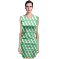 Green White Desktop Classic Sleeveless Midi Dress