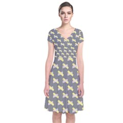 Hearts And Yellow Crossed Washi Tileable Gray Short Sleeve Front Wrap Dress
