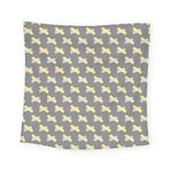 Hearts And Yellow Crossed Washi Tileable Gray Square Tapestry (small) by AnjaniArt