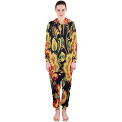 Flower Yellow Green Red Hooded Jumpsuit (ladies)