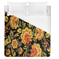 Flower Yellow Green Red Duvet Cover (queen Size) by AnjaniArt