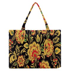 Flower Yellow Green Red Medium Zipper Tote Bag by AnjaniArt