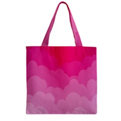 Lines Pink Cloud Zipper Grocery Tote Bag