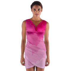 Lines Pink Cloud Wrap Front Bodycon Dress