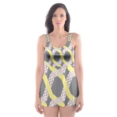 Hearts And Yellow Washi Zigzags Tileable Skater Dress Swimsuit by AnjaniArt