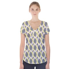 Hearts And Yellow Washi Zigzags Tileable Short Sleeve Front Detail Top