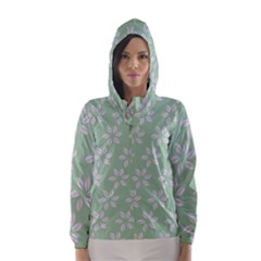 Pink Flowers On Light Green Hooded Wind Breaker (women)