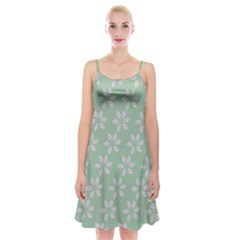 Pink Flowers On Light Green Spaghetti Strap Velvet Dress