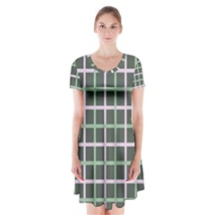 Pink And Green Tiles On Dark Green Short Sleeve V Neck Flare Dress
