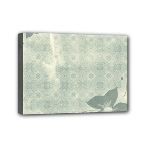 Shadow Flower Gray Mini Canvas 7  X 5