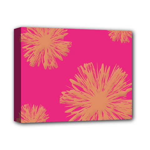Yellow Flowers On Pink Background Pink Deluxe Canvas 14  X 11