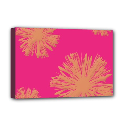 Yellow Flowers On Pink Background Pink Deluxe Canvas 18  X 12