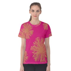 Yellow Flowers On Pink Background Pink Women s Cotton Tee
