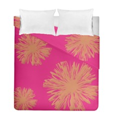 Yellow Flowers On Pink Background Pink Duvet Cover Double Side (full/ Double Size)