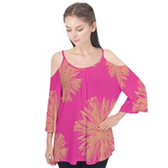 Yellow Flowers On Pink Background Pink Flutter Tees by AnjaniArt