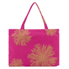 Yellow Flowers On Pink Background Pink Medium Zipper Tote Bag by AnjaniArt