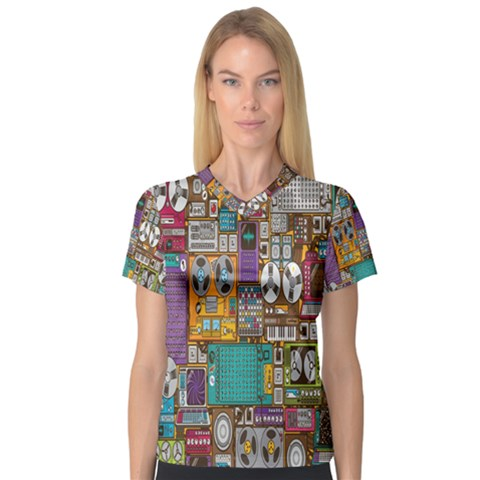 Rol The Film Strip Women s V-neck Sport Mesh Tee by AnjaniArt