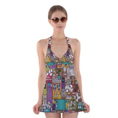 Rol The Film Strip Halter Swimsuit Dress by AnjaniArt