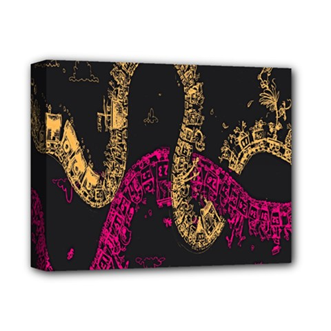 Abstraction Pink Orange Black Deluxe Canvas 14  X 11  by Jojostore