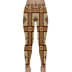 Batik Flower Brown Classic Yoga Leggings