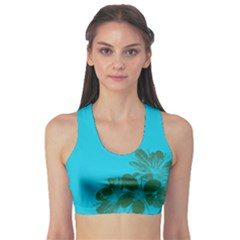 Blue Flower Sports Bra
