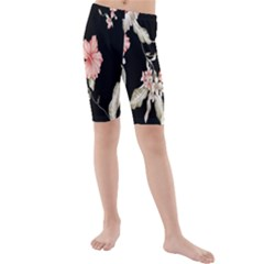 Buds Petals Dark Flower Pink Kids  Mid Length Swim Shorts