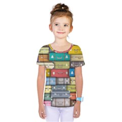 Colored Suitcases Kids  One Piece Tee
