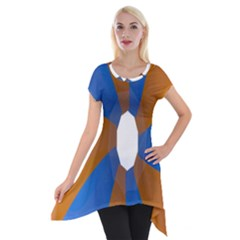 Curve Blue Orange Short Sleeve Side Drop Tunic
