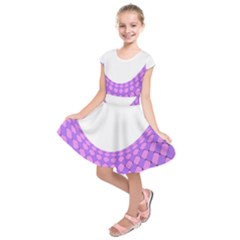 Curve Purple Pink Wave Kids  Short Sleeve Dress by Jojostore