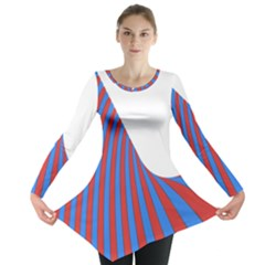 Curve Red Blue Long Sleeve Tunic  by Jojostore