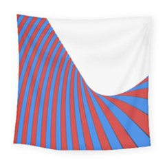 Curve Red Blue Square Tapestry (large)