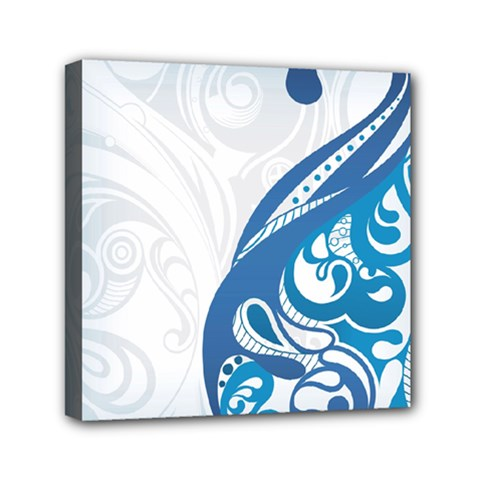 Delicate Flower Blue Mini Canvas 6  X 6  by Jojostore