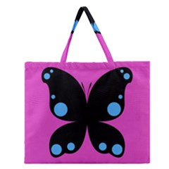 First Butterfly Pink Zipper Large Tote Bag