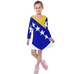 Coat Of Arms Of Bosnia And Herzegovina Kids  Long Sleeve Velvet Dress