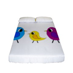 Bird Family Fitted Sheet (full/ Double Size) by Valentinaart