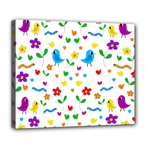 Cute Birds And Flowers Pattern Deluxe Canvas 24  X 20   by Valentinaart