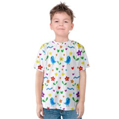 Cute Birds And Flowers Pattern Kids  Cotton Tee