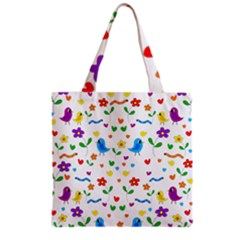 Cute Birds And Flowers Pattern Grocery Tote Bag by Valentinaart