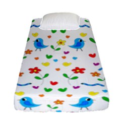 Cute Birds And Flowers Pattern Fitted Sheet (single Size) by Valentinaart