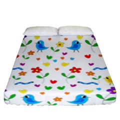 Cute Birds And Flowers Pattern Fitted Sheet (queen Size)