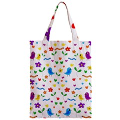 Cute Birds And Flowers Pattern Zipper Classic Tote Bag by Valentinaart