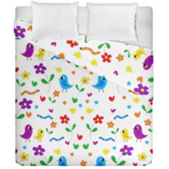 Cute Birds And Flowers Pattern Duvet Cover Double Side (california King Size) by Valentinaart