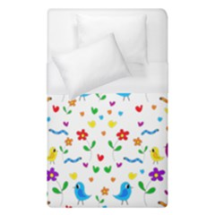 Cute Birds And Flowers Pattern Duvet Cover (single Size) by Valentinaart
