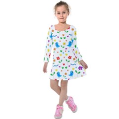 Cute Birds And Flowers Pattern Kids  Long Sleeve Velvet Dress