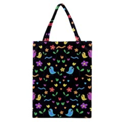 Cute Birds And Flowers Pattern   Black Classic Tote Bag by Valentinaart