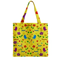 Yellow Cute Birds And Flowers Pattern Zipper Grocery Tote Bag by Valentinaart